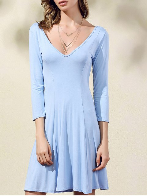 outfits Double-V 3/4 Sleeve Flared Dress - ICE BLUE XL Mobile