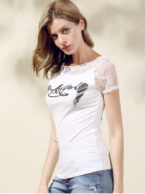 women Printed Lace Spliced Round Neck Short Sleeve T-Shirt - WHITE M Mobile
