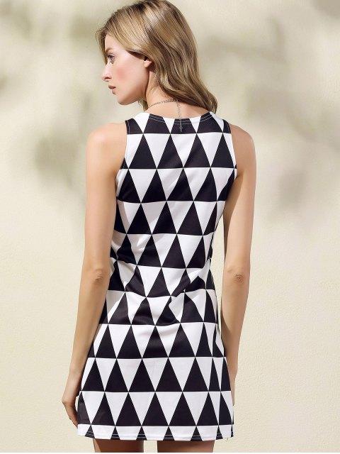trendy Geometric Pattern Round Collar Sleeveless Dress - WHITE AND BLACK S Mobile