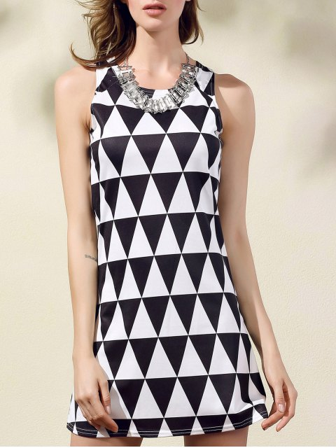 chic Geometric Pattern Round Collar Sleeveless Dress - WHITE AND BLACK L Mobile