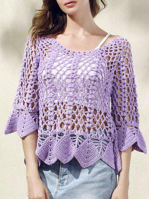 Solid Color Cut Out Round Neck Butterfly Sleeve Sweater - Purple