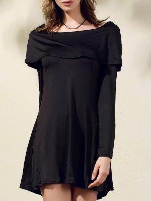 Black Off The Shoulder Boat Neck Long Sleeve Dress - Black L
