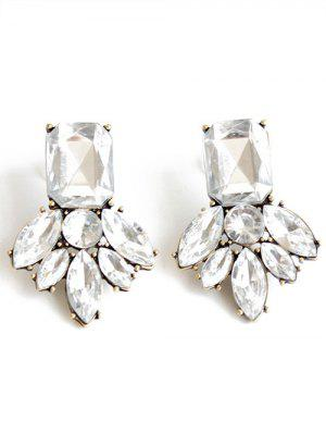 Rhinestone Brief Stud Earrings - White