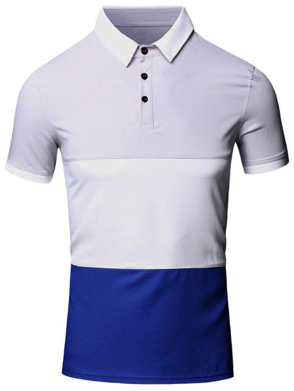 Turn Down Collar Color Block Splicing Design Short Sleeve Cotton Linen Polo T Shirt For Men 182930603