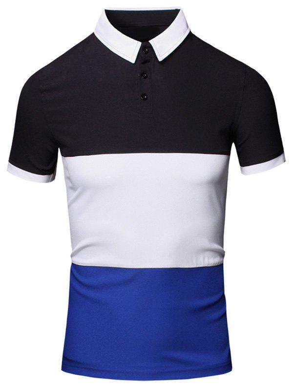 Turn Down Collar Color Block Splicing Design Short Sleeve Cotton Linen Polo T Shirt For Men 182930613