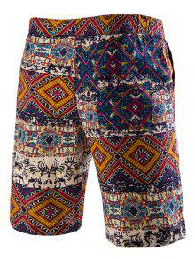 9e2c57438c 22% OFF] 2019 Drawstring Tribal Printed Loose Fit Boardshorts In RED ...