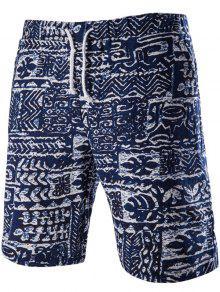 Hombres  's De Moda Atan Para Arriba Impreso Bañadores - Azul Purpúreo M