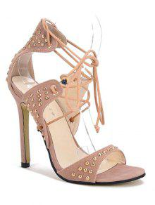 Buy Stiletto Heel Rivet Lace-Up Sandals - APRICOT 38