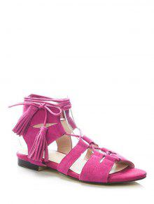 Buy Tassel Flat Heel Lace-Up Sandals - ROSE 38