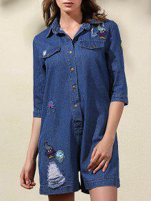 Cartoon Embroidery Turn-Down Collar Long Sleeve Denim Romper - BLUE M