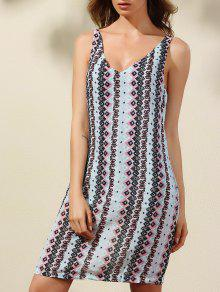 Argyle Print Plunging Neck Sleeveless Dress - S