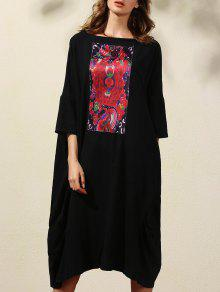 Impresión Retro 3/4 Manga Cuello Redondo Vestido Recto - Negro Xl