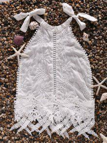 White Lace Spliced Halter Tank Top - White Xl