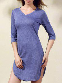 Solid Color Side Slit Scoop Neck 3/4 Sleeve Dress - Blue S