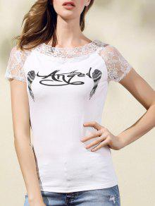 Printed Lace Spliced Round Neck Short Sleeve T-Shirt - White M