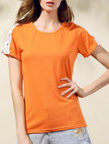 Lacing Spliced Round Collar Short Sleeve T-Shirt - Jacinth S