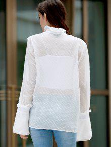 La Volantes 2xl Escote Blanco Punteada Por Con Ver Camisa 5CqU8f