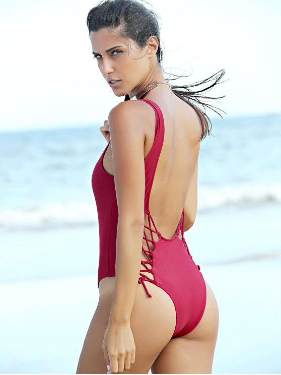 outfit Pure Color Lace Up U Neck One-Piece Swimwear - WINE RED M