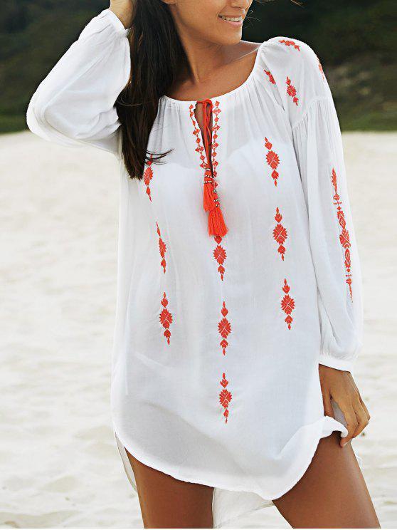 best Embroidered White Irregular Dress - WHITE S