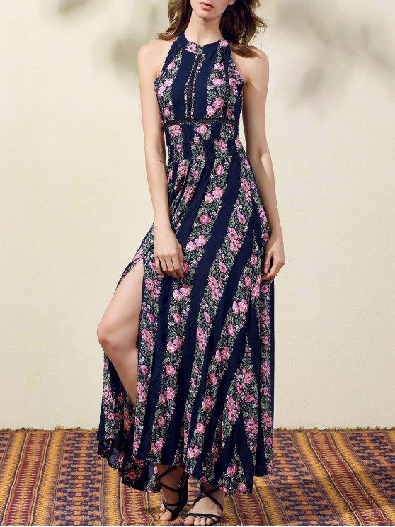chic Floral Print High Slit Jewel Neck Sleeveless Dress - PURPLISH BLUE XL