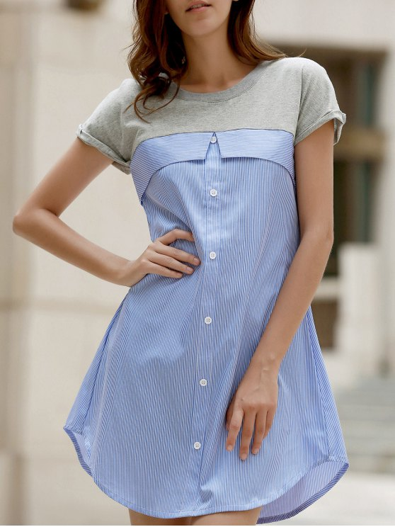 Vestido de manga corta de la raya del empalme de cuello redondo - Azul Claro S
