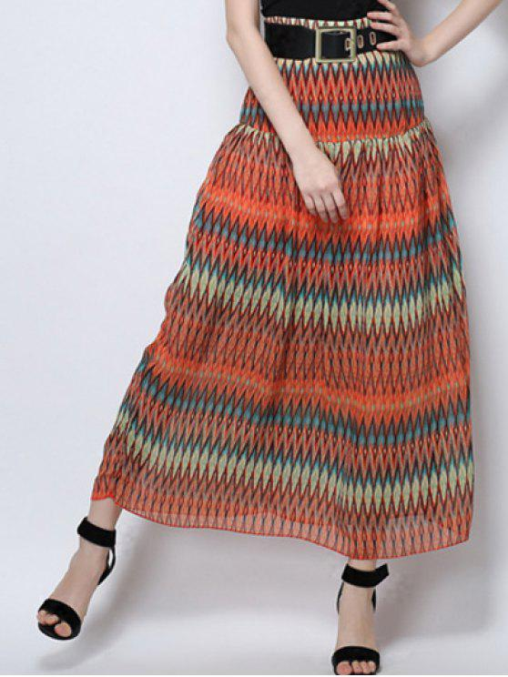 hot Zig Zag Print High Waist  Skirt - ORANGE M
