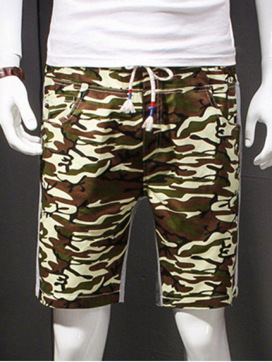 Camuflaje del estilo del cordón-para arriba adelgazar elásticos pantalones cortos para los hombres - Ejercito Verde XL