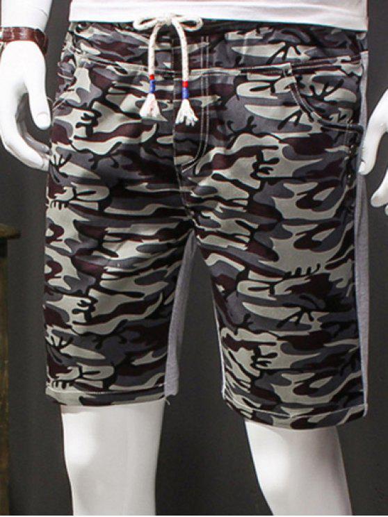 Camuflagem Estilo Lace-Up emagrecimento elásticas Shorts para homens - Cinza L