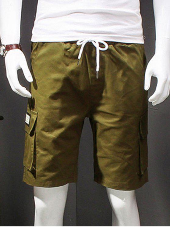 Carta Casual rectas impressas Leg multi-bolsos Shorts para homens - Verde 2XL