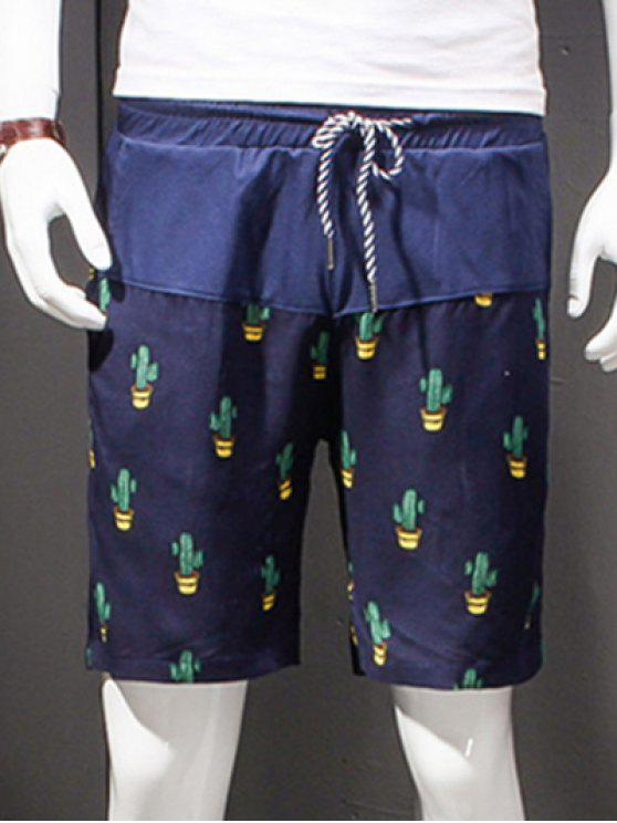 women Straight Leg Printing Drawstring Shorts For Men - COLORMIX XL