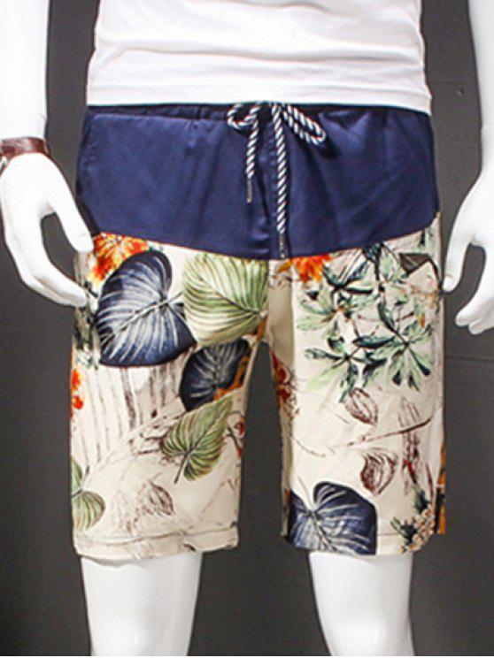 lady Fashion Straight Leg Printing Drawstring Shorts For Men - COLORMIX 2XL