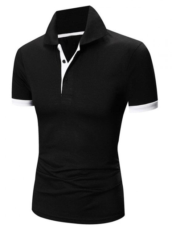 acae3c51a9 Laconic Turn-down Collar Color Block Short Sleeves T-Shirt For Men - White  And Black M