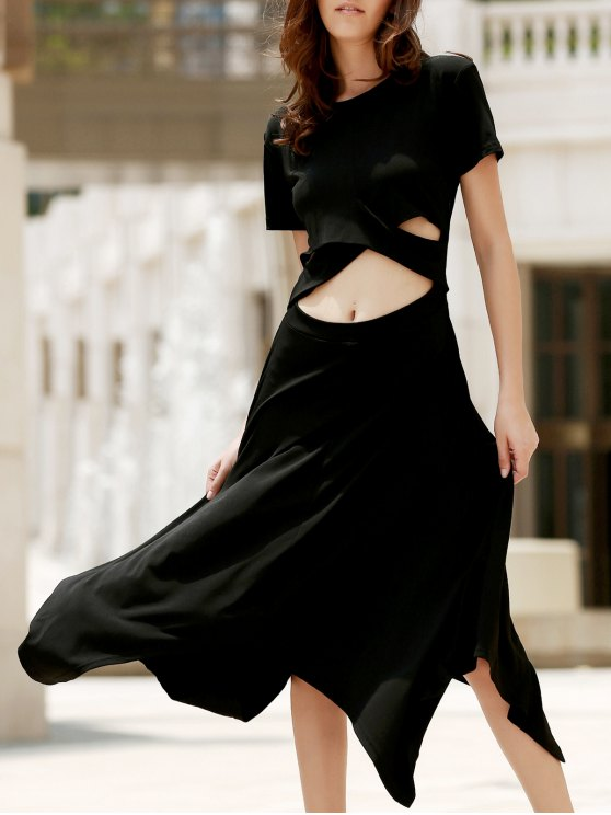 Vestir de manga corta negro dobladillo irregular de cuello redondo - Negro L