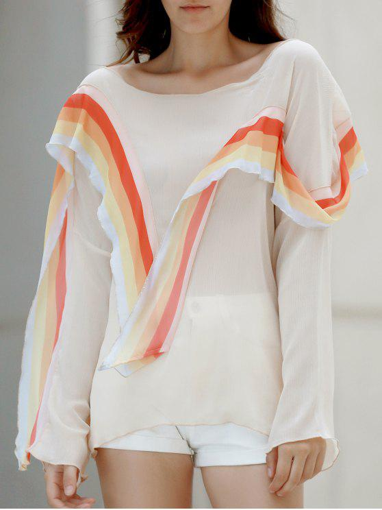 chic Rainbow Ruffle Chiffon Top - WHITE L