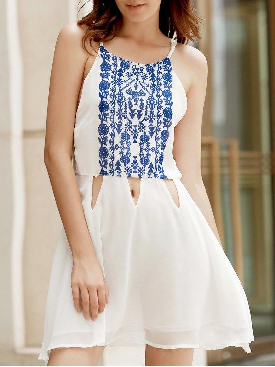 Floral Spaghetti Strap Vintage White Dress - Blanc M