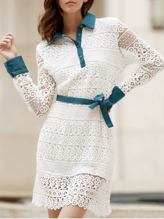 trendy Bowtie Shirt Collar Long Sleeve Lace Dress - WHITE L