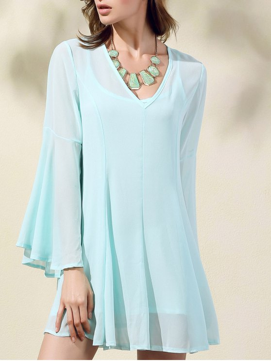 women's Solid Color V-Neck Flare Sleeve Dress - LIGHT GREEN L