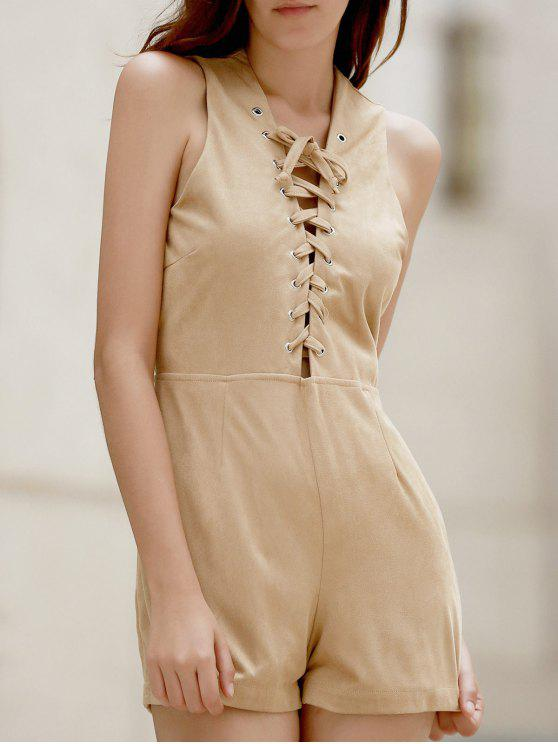 Lace Up Plunging Neck Sleeveless Romper - RAL1001 Bege,  Amarelo Claro ou Cinza Amarelo L