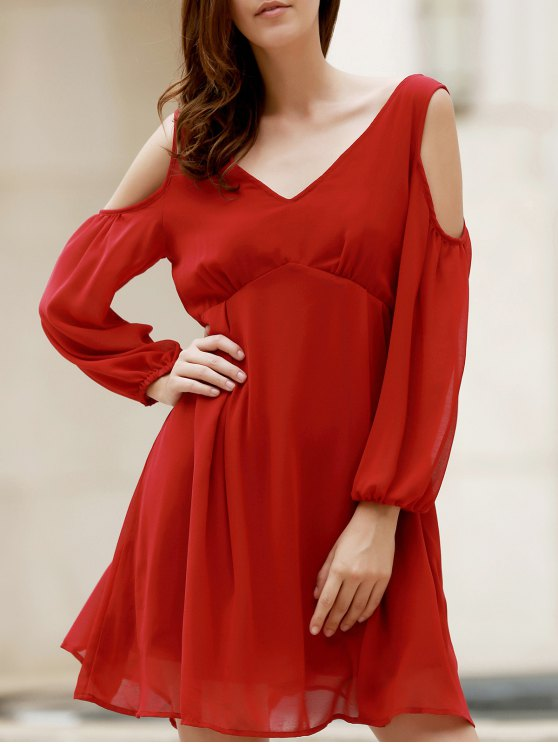 shop Plunging Neck Chiffon Flowing Dress - WINE RED M