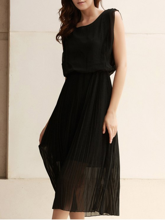 outfit Solid Color Maxi Pleated Dress - BLACK M