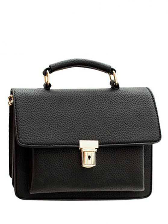 fashion Solid Color Metal Push Lock  Tote Bag - BLACK