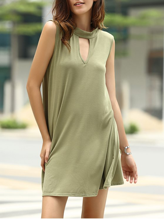 fancy Stylish Keyhole Neckline Sleeveless Solid Color Dress For Women - ARMY GREEN L
