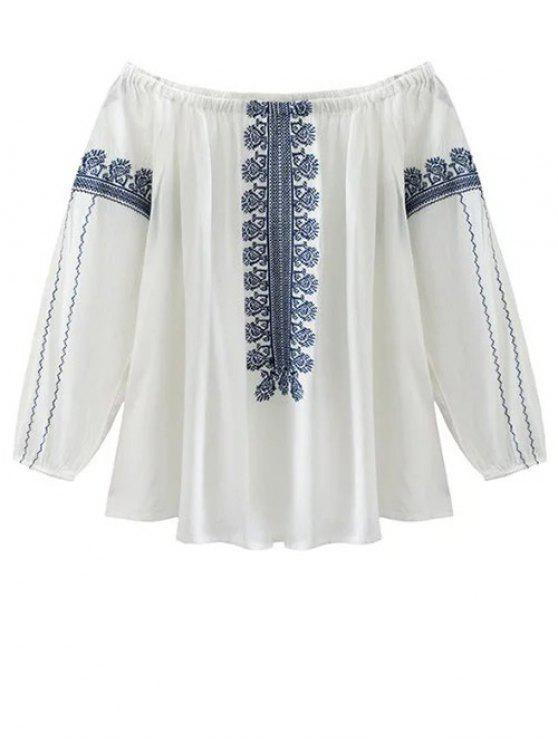 buy Off The Shoulder Embroidery Lantern Sleeve Blouse - WHITE L