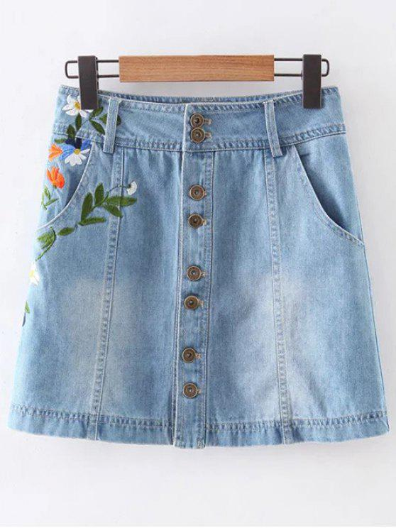 hot Floral Embroidery Pockets Denim Skirt - LIGHT BLUE S
