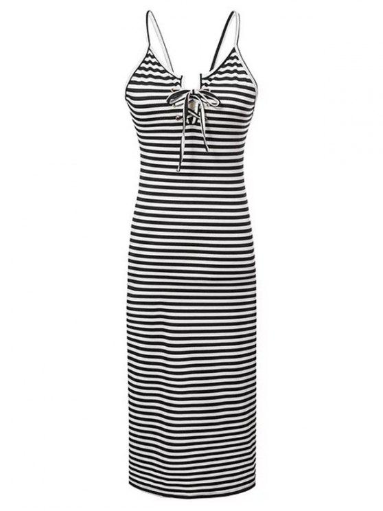 outfits Striped Lace-Up Cami Sleeveless Dress - WHITE AND BLACK S