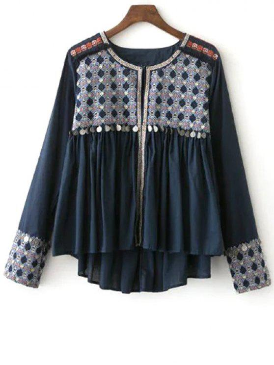 hot High-Low Printed Collarless Long Sleeve Blouse - CADETBLUE M