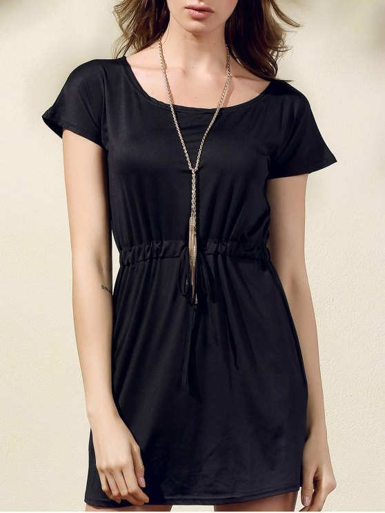 lady Drawstring Scoop Neck Short Sleeve Dress - BLACK M