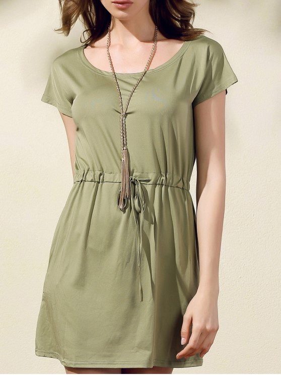 outfit Drawstring Scoop Neck Short Sleeve Dress - GREEN M