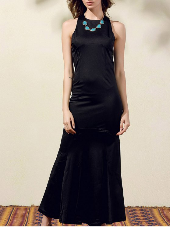 womens Back Cut Out Formal Maxi Mermaid Dress - BLACK M