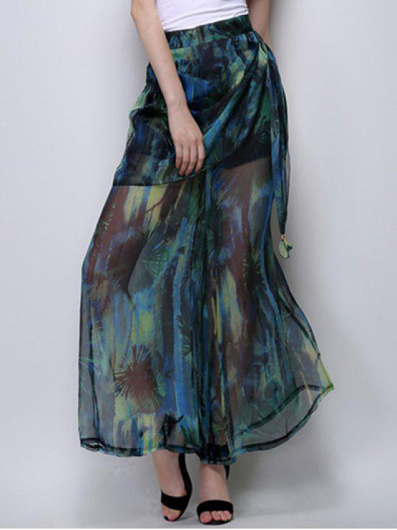 buy Abstract Print High Waist Wide Leg Pants - GREEN M